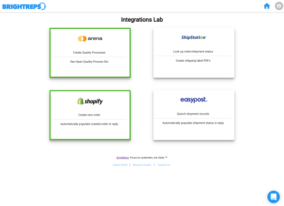 Admin Portal - Integrations Lab Section